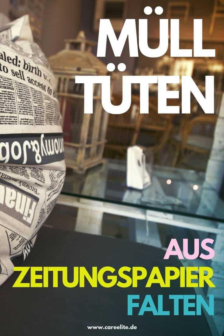 Mülltüten aus Zeitungspapier falten Anleitung