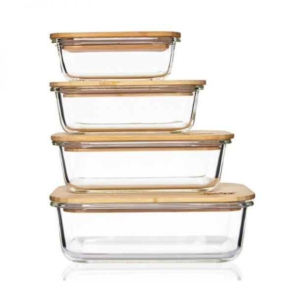 Set Glasboxen mit Bambusdeckel