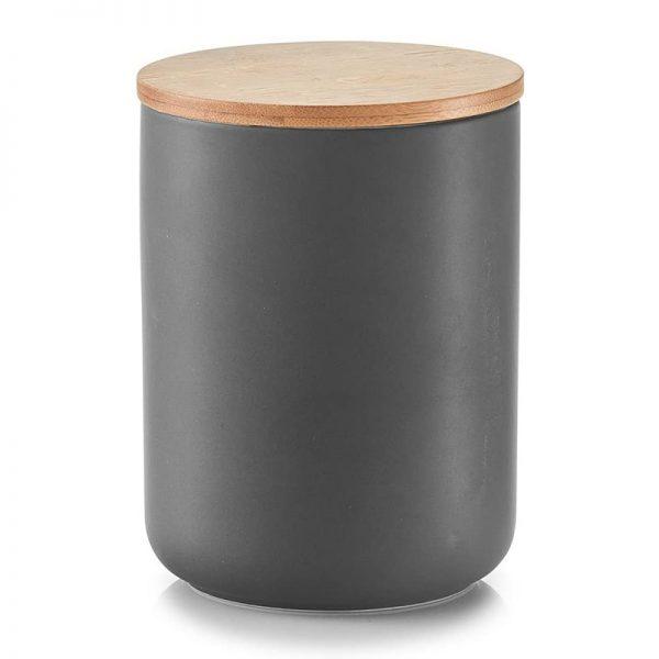 Vorratsdose Grau mit Bambusdeckel