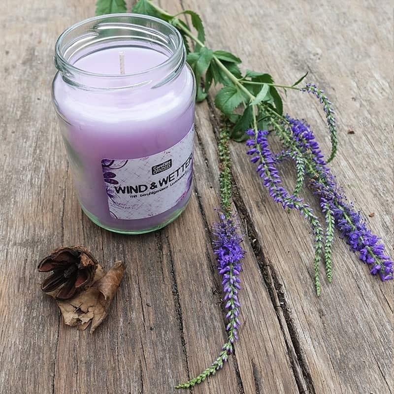 Duftkerze CareElite Candles Lavendelduft Kerze Wind und Wetter