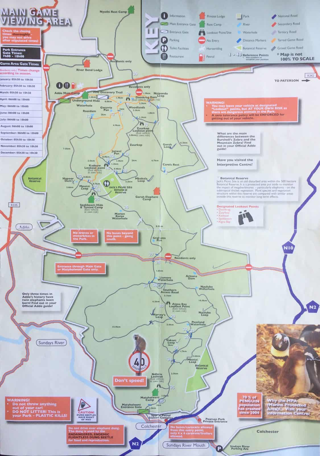 Addo Elephant National Park Karte Map Selbstfahrer Safari