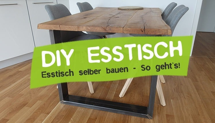 DIY Esstisch aus alten Holzbohlen selber bauen