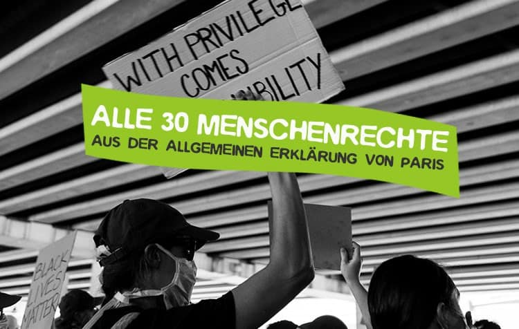 Alle 30 Menschenrechte Artikel aus der Allgemeinen Erklärung