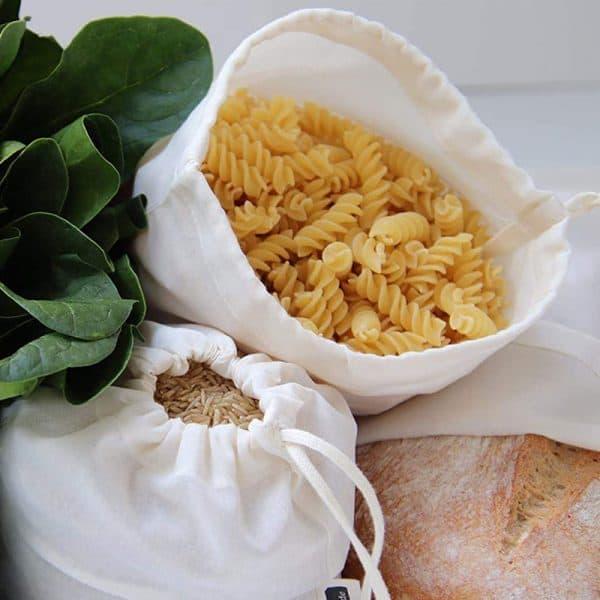 Jutebeutel für Lebensmittel wie Brot und Nudeln