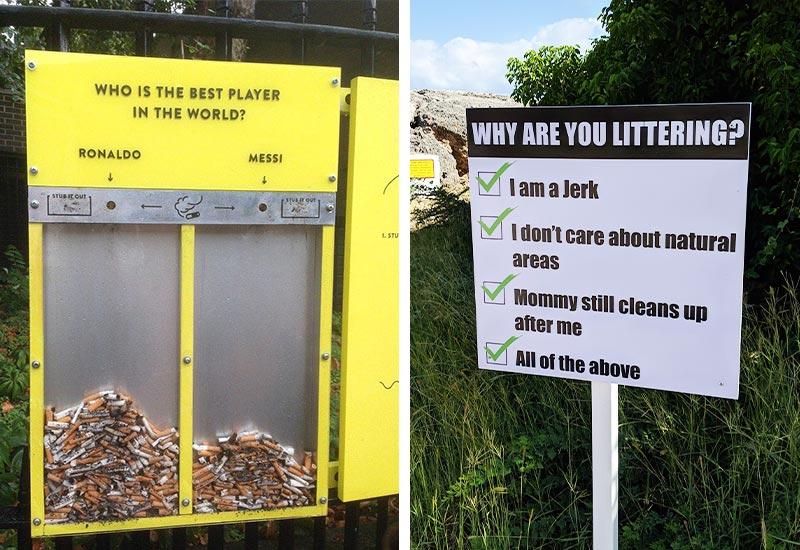 Kreative Schilder gegen Littering