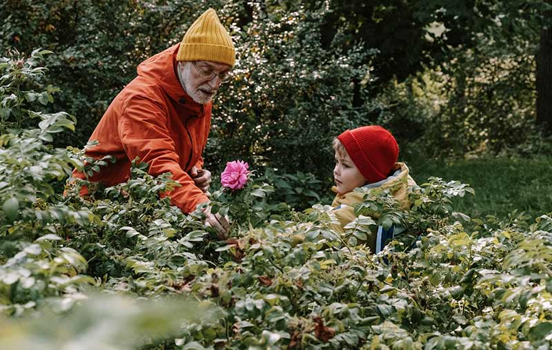 Kind mit Großvater in der Natur als Zoo Alternative