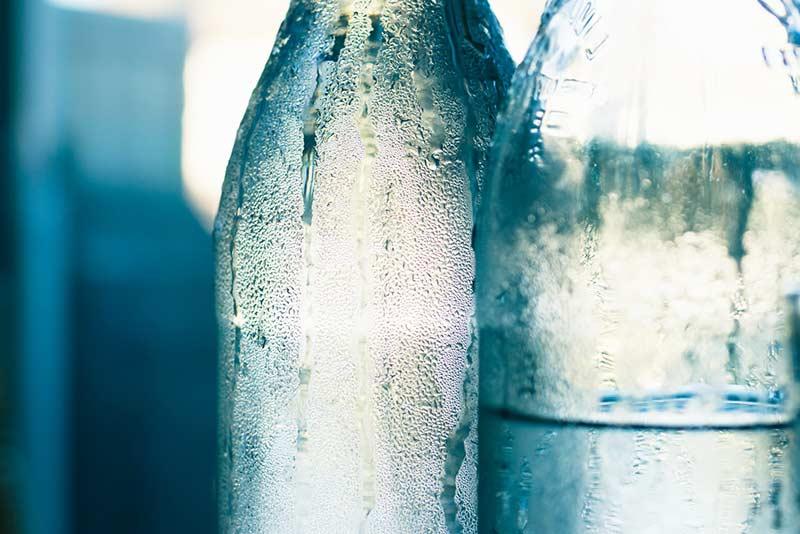Water in glass bottles