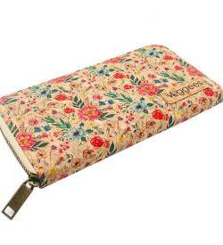 Portemonnaie aus Kork mit Blumenmuster