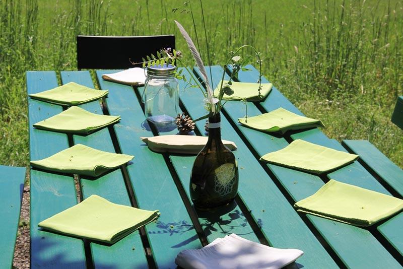 Tisch decken Zero Waste Hochzeit